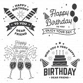 Set Of Happy Birthday Templates For Overlay, Badge, Sticker, Card With Bunch Of Balloons, Gifts, Cha poster