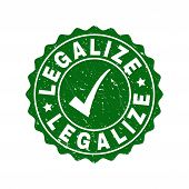 Vector Legalize Scratched Stamp Seal With Tick Inside. Green Legalize Imprint With Grainy Texture. R poster
