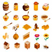 Honey Icon Set. Isometric Set Of Honey Vector Icons For Web Design Isolated On White Background poster