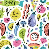 Food Flat Hand Drawn Seamless Pattern. Fruits, Vegetables, Fish. Healthy Nutrition Texture. Organic  poster