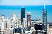 City Of Chicago. Aerial View Of Chicago Downtown From High Above. poster