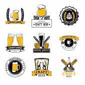 Set Of Labels Filled With Beer Mugs, Bottles Of Craft Beer, Beer Barrels And The Ingredient Malt. poster