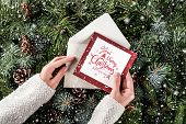 Female Hand Holding A Christmas Card On Background Of Christmas Fir Branches, Spruce, Juniper, Fir,  poster
