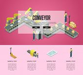 Mechanical Belt Conveyor Isometric 3d Poster. Industrial Goods Production, Assembly Line With Worker poster