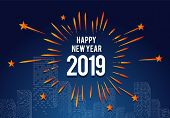 Happy New Year 2019, 2019 On White Background, Illustration, New Year 2019, Colorfull Numbers, New Y poster
