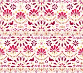 Mexican Traditional Folk Art Vector Seamless Geometric Pattern With Flowers And Birds, Orange And Re poster
