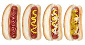 A collection of hotdogs with mustard, ketchup, relish and onions.