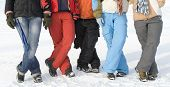 Sport Teenagers On Snow In Sport Clothes