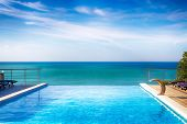 The Pool The Horizon. The Cliff Into The Sea. Contact With The Sky And The Horizon. Bright Summer Sk poster