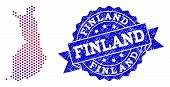 Geographic Composition Of Dotted Map Of Finland And Grunge Stamp. Mosaic Vector Map Of Finland Desig poster