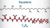 Squalane Molecule. It Is Used In Cosmetics As Emollient And Moisturizer Structural Chemical Formula  poster
