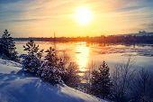 Sunset Winter Snow Nature River Horizon Landscape. Winter Snow Forest River Sunset View. Sunset Wint poster