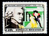 MONGOLIA - CIRCA 1981: A stamp printed in Mongolia shows image of the famous composer Wolfgang Amade