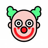 Scary Clown Or Joker With Bloody On Face, Halloween Icon Editable Stroke poster