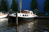 stock photo of flatboat  - Classic boat in marine  - JPG