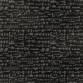 Basic Math Equations And Formulas, White Chalk Lettering On School Blackboard Seamless Pattern poster