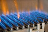 Gas Burning In A Heating Appliance. A Stainless Steel Burner Heats A Copper Heat Exchanger. poster