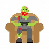 Zombie Gamer Player Video Game Pixel Art. Zombie Guy And Joystick 8 Bit. Dead Man Sitting On Chair P poster