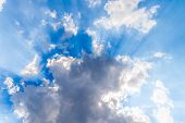 White Clouds And Sunrays On Blue Sky poster