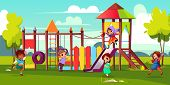 Children Playground Cartoon Vector Illustration With Multinational, Preschooler Kids Characters Runn poster