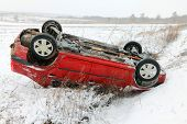 stock photo of icy road  - Car accident in winter conditions - JPG