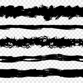 Vector Collection Of Black Rough Brush Strokes Isolated On Transparent Background, Seamless Lines. poster