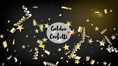 Modern Realistic Gold Tinsel Confetti, Flying Foil Blast. Cool Glamour Christmas, New Year, Birthday poster