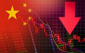 China Market Stock Crisis Red Price Arrow Down Chart Fall Flag Of China poster