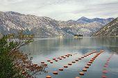 Beautiful Mediterranean Landscape On Cloudy Autumn Day. Longline Culture, Rope Culture  Mussel Farm. poster