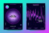 Electronic Music Posters. Trance Music Festival Promotion. Vector Wave Sound Amplitude Design. Abstr poster
