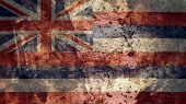 Very Grungy Vintage Hawaii Flag, Grunge Background Texture poster