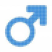 Male Symbol Halftone Dotted Icon. Halftone Pattern Contains Circle Points. Vector Illustration Of Ma poster