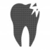 Cracked Tooth Halftone Dotted Icon. Halftone Pattern Contains Round Pixels. Vector Illustration Of C poster