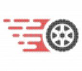 Tire Wheel Halftone Dotted Icon With Fast Speed Effect. Vector Illustration Of Tire Wheel Designed F poster