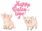Two Hand Drawn Naughty Pigs. Cute Funny Piglest Isolated On White Background. Inscription Happy Vale poster