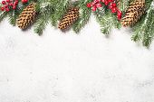 Christmas Flatlay Background With Fir Tree And Decorations On White  Background. Top View With Copy  poster