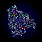 Glossy Polygonal Mesh Map Of Bolivia With Glare Effect. Vector Carcass Map Of Bolivia With Glowing M poster