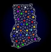 Glossy Polygonal Mesh Map Of Ghana With Glare Effect. Vector Carcass Map Of Ghana With Glowing Multi poster