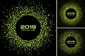 New Year 2019 Card Backgrounds Set. Green Glitter Paper Confetti. Glistening Green Disco Lights. Glo poster