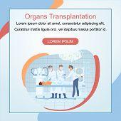 Human Organs Transplantation Cartoon Vector Square Web Banner. Nursery Assisting Surgeons Removing,  poster