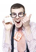 picture of pushy  - Ned The Sales Man Nerd Giving Thumbs Up For A Discount Deal While Holding Business Card Isolated On White Background - JPG