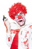 Evil Clown Holding Cap Gun On White Background