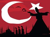 foto of rumi  - vector cityscape of istanbul and sufi dervishes - JPG
