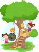 stock photo of tire swing  - Illustration of Kids Playing in a Treehouse - JPG
