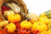 stock photo of cornucopia  - Close up of a harvest or Thanksgiving cornucopia of autumn vegetables - JPG