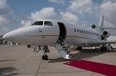 pic of passenger ship  - ladder laid out the red carpet private jet plane - JPG