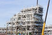 image of lng  - Assembling of liquefied natural gas Refinery Factory with LNG storage tank using for Oil and gas industry background - JPG