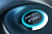 image of start over  - Profit button with blue light - JPG