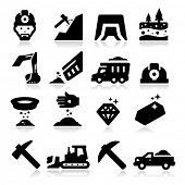 stock photo of mines  - Mining Icons - JPG