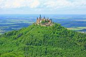 foto of swabian  - View from the top of Zeller Horn to Hohenzollern Castle on the Swabian Alb - JPG